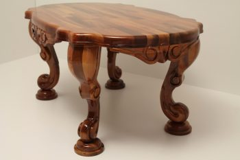Carved Walnut Oval Table